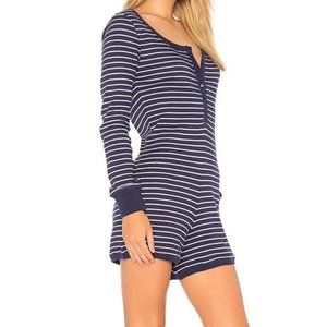 Plush | Revolve thermal striped navy sleep romper